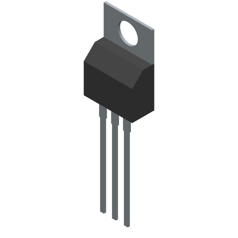 Texas Instruments LM317T (Transistor Outline, Vertical) 3D model isometric projection.