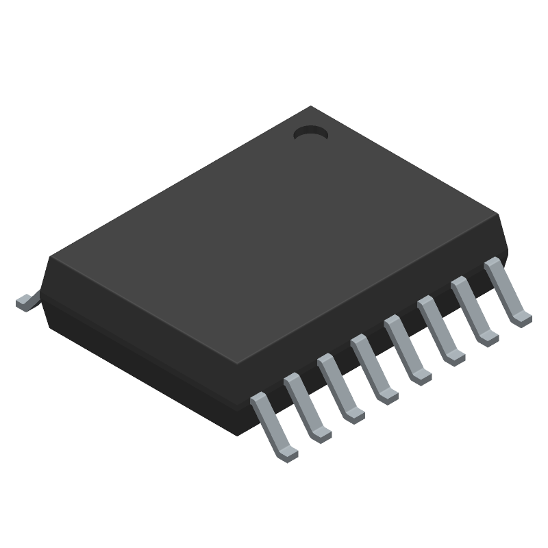 Maxim Integrated DS3231S# (Small Outline Packages) 3D model isometric projection.