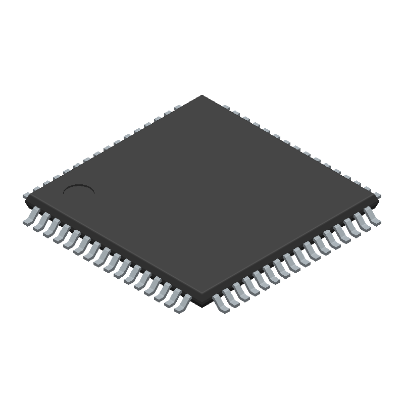 Microchip ATMEGA128A-AU (Quad Flat Packages) 3D model isometric projection.
