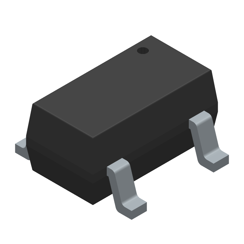 Microchip MCP6491T-E/OT (SOT23 (5-Pin)) 3D model isometric projection.