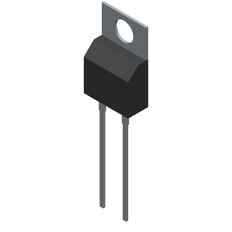 ROHM Semiconductor SCS205KGC (Transistor Outline, Vertical) 3D model isometric projection.
