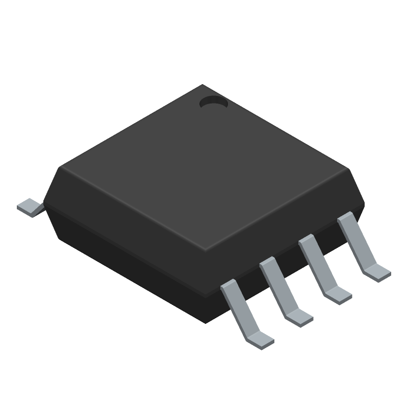 Microchip ATTINY85-20SU (SOT23 (8-Pin)) 3D model isometric projection.