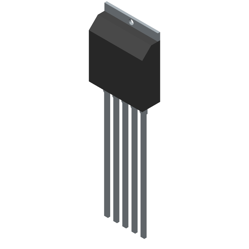 Sanken STD01N (Transistor Outline, Vertical) 3D model isometric projection.