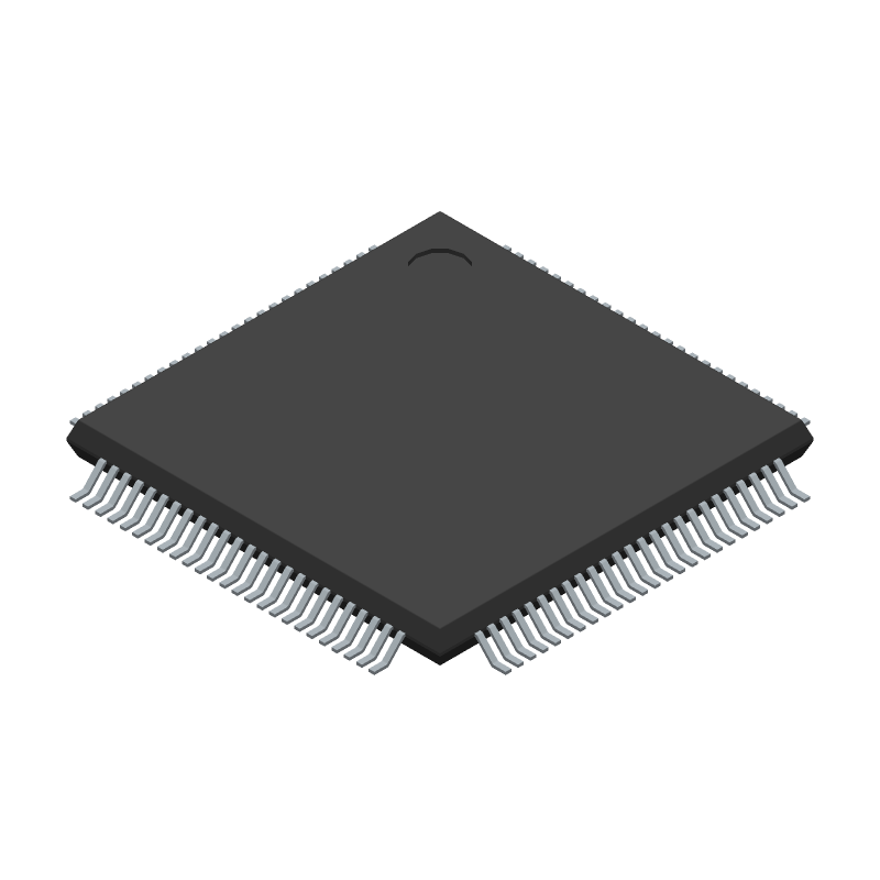 Microchip PIC32MK0512GPE100-E/PT (Quad Flat Packages) 3D model isometric projection.