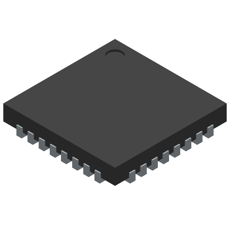 Infineon SLB9670VQ12FW641XUMA1 (Quad Flat No-Lead) 3D model isometric projection.